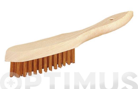 Cepillo manual con mango pua redonda latonada 4 hileras