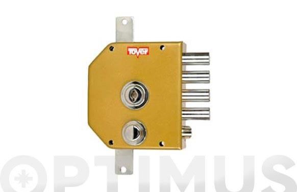 Cerradura sobreponer con varillas golpe y llave derecha dorada