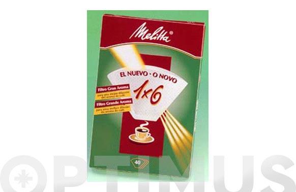 Papel filtro cafetera melitta 1 x 6/40