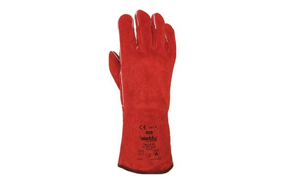 Guante de serraje rojo para soldador talla unica