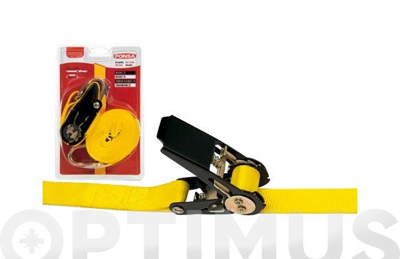 Ratchets amarre con 2 ganchos cerrados 25 mm - 5 metros