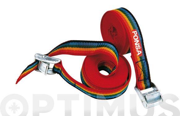 Trinquete amarre ( blister 2 unidades) 25 mm - 3 m arco iris
