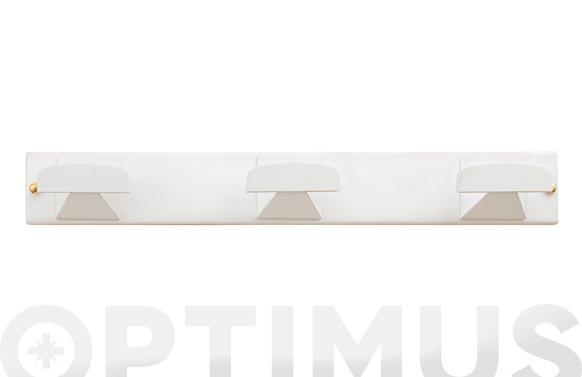 Colgador con tornillos 3 ganchos acero inoxidable blanco