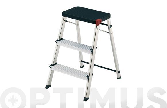 Taburete escalera aluminio m/3 negro
