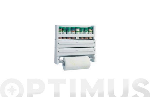 Portarrollos cocina triple modular c/especiero blanco