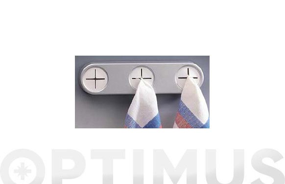 Colgador paños adhesivo triple blanco