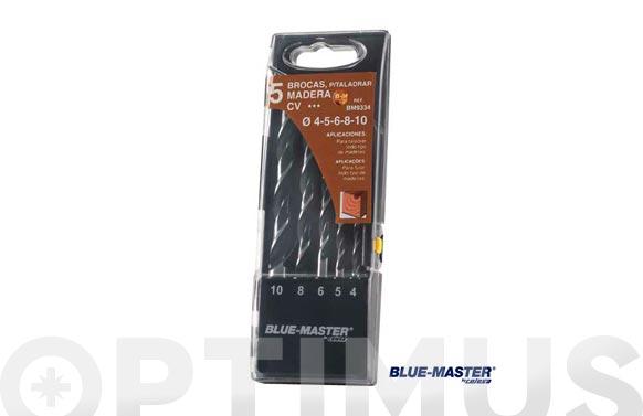 Broca madera standard cilindrica 3 puntas juego 4-5-6-8-10 mm