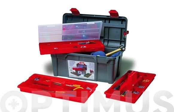 Caja herramientas polipropileno n 35 gris 580 x 285 x 290 mm 2 bandejas 1 estuche