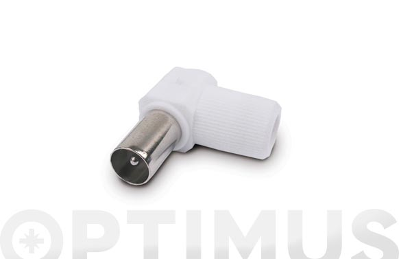 Conector antena tv macho acodado blanco axil mp-561e/m9.5