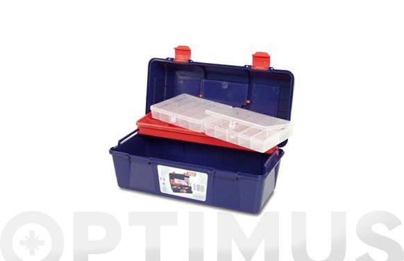 Caja herramientas polipropileno n 23 azul 356 x 184 x 163 mm 1 bandeja 2 estuches