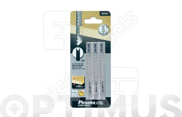 Hoja sierra calar madera cabezal en u corte limpio. 3 unidades