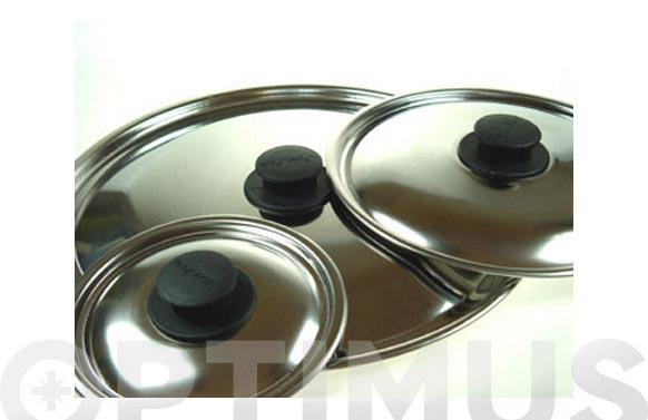 Tapa acero inox pomo baquelita 18 cm