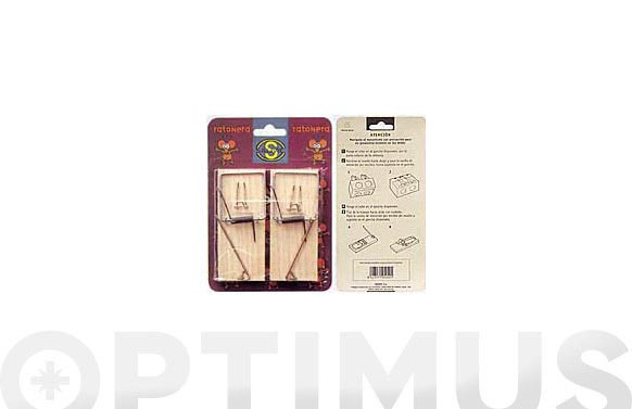 Ratonera tabla madera pequeña n.1 blister 2u