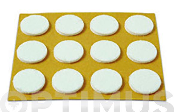 Deslizador de fieltro adhesivo blanco ø 20 mm 12 unid