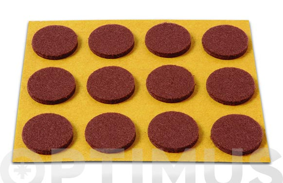 Deslizador de fieltro adhesivo marron ø 20 mm 12 unid