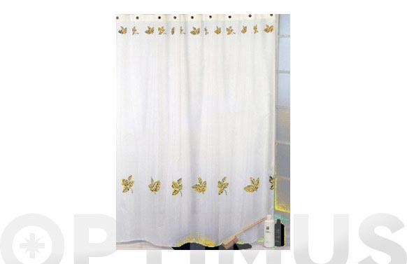 Cortina baño loneta hojas amarillo 200 x 190 ar