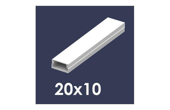 Canaleta 2 m blanca 20 x 10 mm