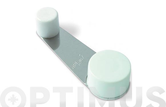 Tope de puerta adhesivo retenedor giratorio acero inox/pvc blanco