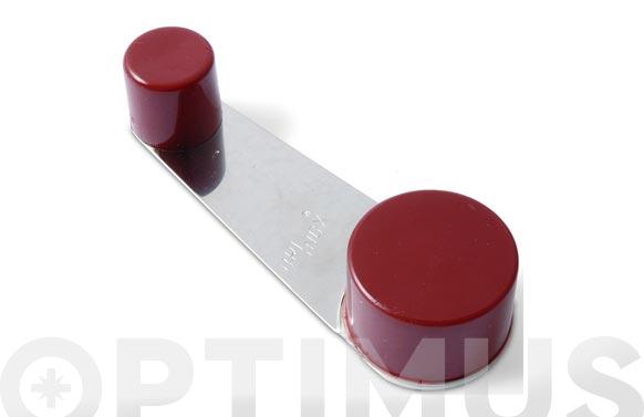 Tope de puerta adhesivo retenedor giratorio acero inox/pvc marron