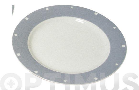 Plato postre porcelana decorado gris 511