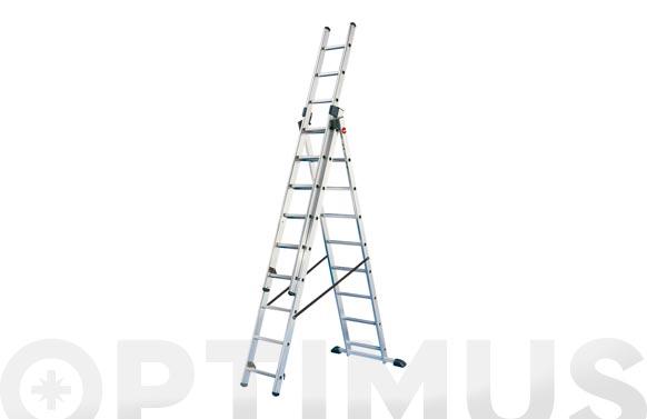 Escalera aluminio triple combinada 3 x 6 peldaños