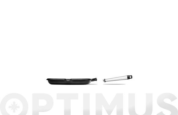 Asador plano aluminio fundido mango inox 22 cm