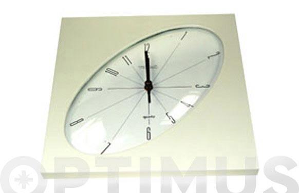 Reloj cocina cuadrado esfera oval beig-27 x 27