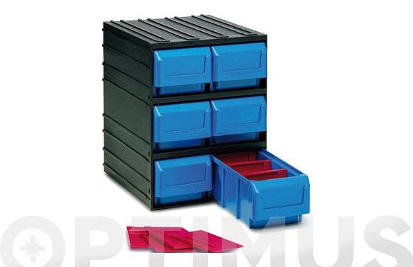 Clasificador apilable plastico negro 6 gavetas 245 x 291 x 321 mm