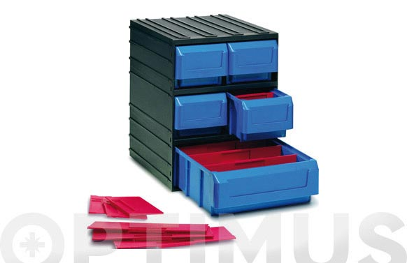 Clasificador apilable plastico negro 5 gavetas 245 x 291 x 321 mm