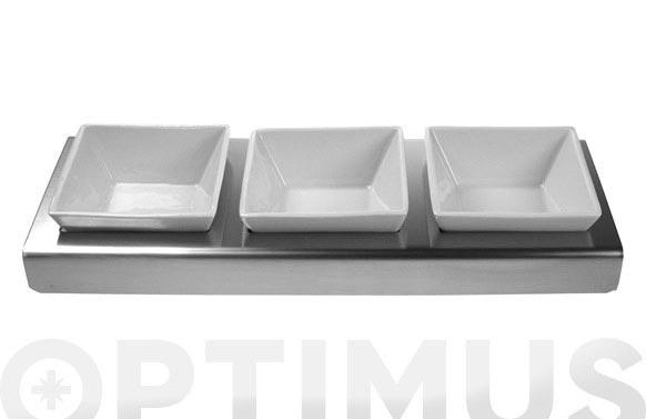 Entremesero 3 platos ceramica base inox