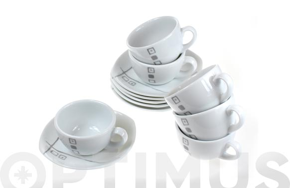 Taza cafe porcel decor jgo 6u duet grey