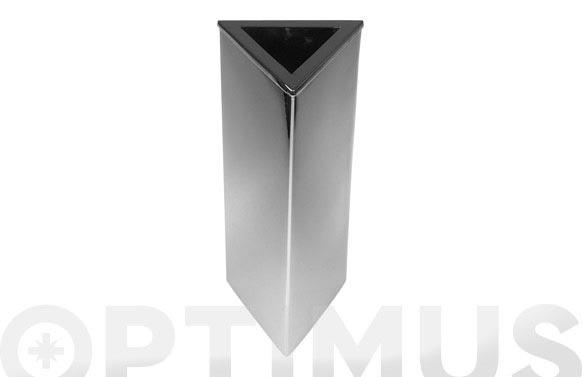 Florero triangular cromado 10 x 26 cm
