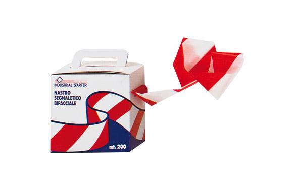 Cinta señalizacion roja/blanca 7 cm x 200 mt
