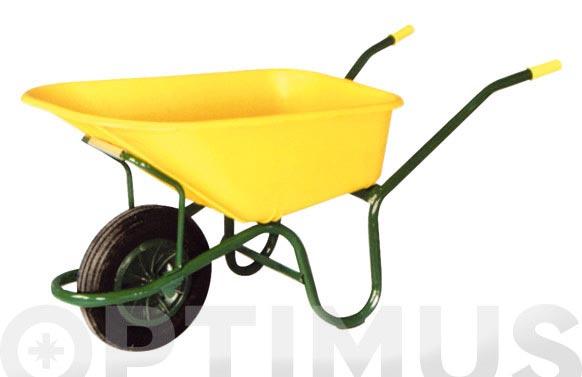 Carretilla nilon amarilla c1/570 100 l rueda neumatica