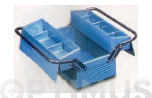 Caja herramientas metal azul 2 compartimientos 400 x 210 x 195 mm