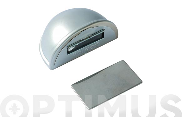 Tope de puerta adhesivo con iman ovalado cromado mate