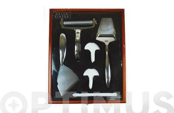 Cuchillos queso set 5 piezas caja madera