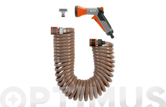 Manguera flexible espiral con accesorios 10 m