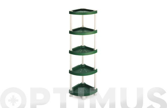 Estanteria angular plastico 5 estantes 144 x 37,5 x 37,5 cm