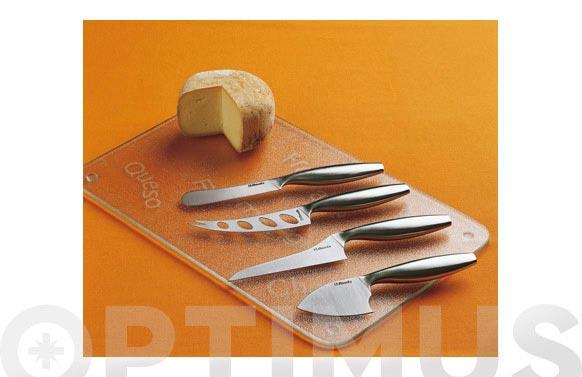 Cuchillo queso 4 unidades +tabla cristal