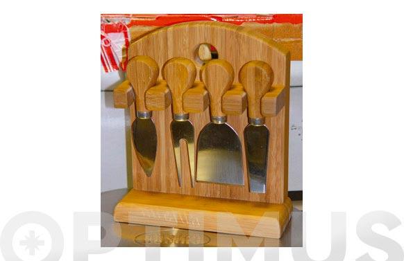 Cuchillo queso 4u caja madera gukd0101