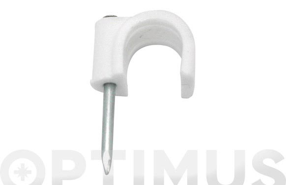 Grapa plastico cable redondo blanca (100 uni) 10 mm