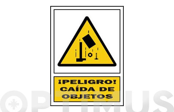 Señal advertencia castellano 297x210 mm caida de objetos