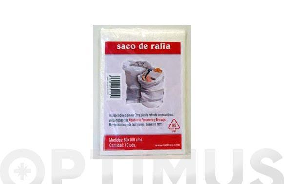 Saco rafia (10 unid) 60x100 cm blanco