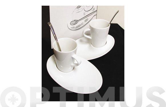 Taza capuccino + plato + cuchara 2 conjuntos