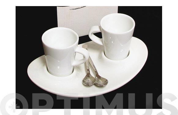 Taza cafe duo con plato duo incluye 2 cucharas