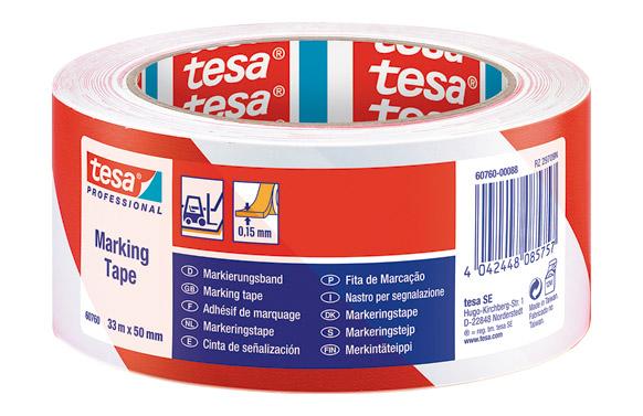 Cinta adhesiva señalizacion temporal 50 mm x 33 m roja/blanca