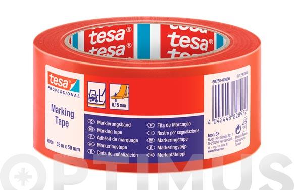Cinta adhesiva señalizacion temporal rojo 33 m x 50 mm