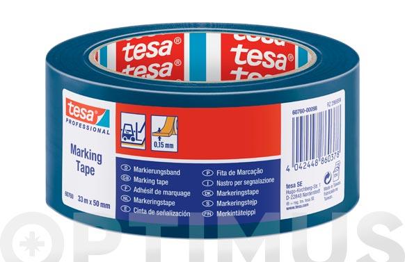 Cinta adhesiva señalizacion temporal azul 33 m x 50 mm