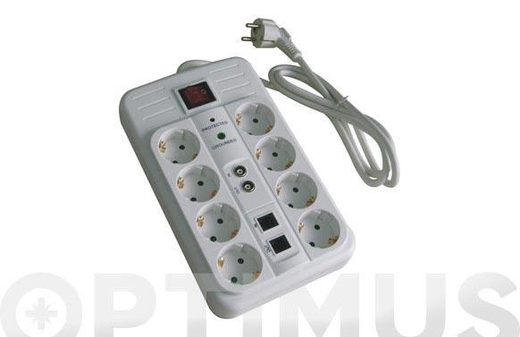 Base multiple con interruptor y proteccion 8 tomas multimedia